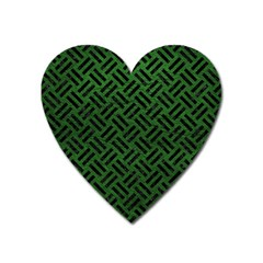 Woven2 Black Marble & Green Leather (r) Heart Magnet