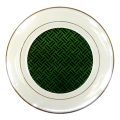 Woven2 Black Marble & Green Leather (r) Porcelain Plates