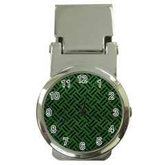 Woven2 Black Marble & Green Leather (r) Money Clip Watches