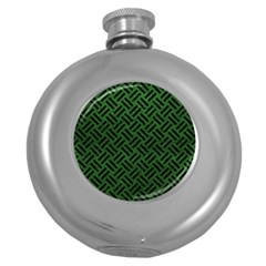 Woven2 Black Marble & Green Leather (r) Round Hip Flask (5 Oz)