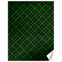 Woven2 Black Marble & Green Leather (r) Canvas 18  X 24