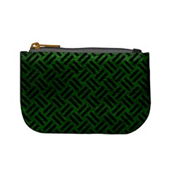 Woven2 Black Marble & Green Leather (r) Mini Coin Purses