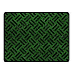 Woven2 Black Marble & Green Leather (r) Fleece Blanket (small)