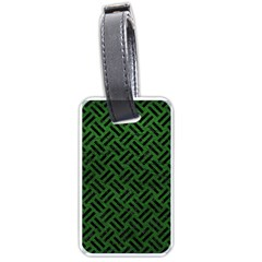 Woven2 Black Marble & Green Leather (r) Luggage Tags (one Side)