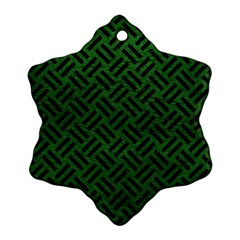 Woven2 Black Marble & Green Leather (r) Ornament (snowflake)