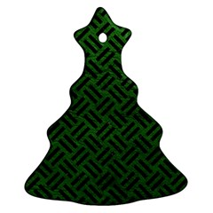 Woven2 Black Marble & Green Leather (r) Ornament (christmas Tree)