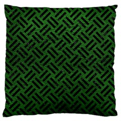 Woven2 Black Marble & Green Leather (r) Large Cushion Case (one Side)