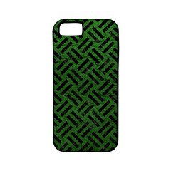 Woven2 Black Marble & Green Leather (r) Apple Iphone 5 Classic Hardshell Case (pc+silicone)