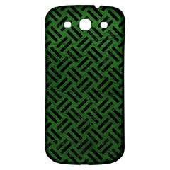 Woven2 Black Marble & Green Leather (r) Samsung Galaxy S3 S Iii Classic Hardshell Back Case