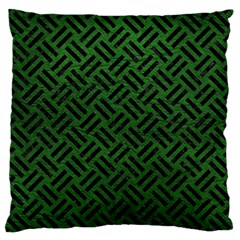 Woven2 Black Marble & Green Leather (r) Large Flano Cushion Case (one Side)