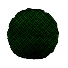 Woven2 Black Marble & Green Leather (r) Standard 15  Premium Flano Round Cushions