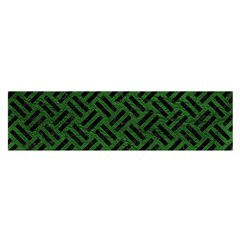 Woven2 Black Marble & Green Leather (r) Satin Scarf (oblong)