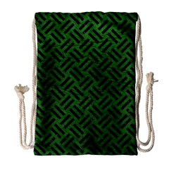 Woven2 Black Marble & Green Leather (r) Drawstring Bag (large)