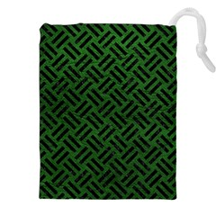 Woven2 Black Marble & Green Leather (r) Drawstring Pouches (xxl)