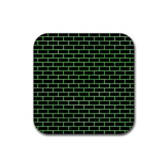 Brick1 Black Marble & Green Watercolor Rubber Square Coaster (4 Pack)