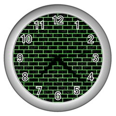 Brick1 Black Marble & Green Watercolor Wall Clocks (silver)