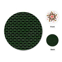 Brick1 Black Marble & Green Watercolor Playing Cards (round)