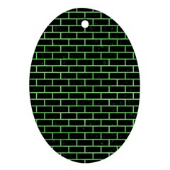 Brick1 Black Marble & Green Watercolor Oval Ornament (two Sides)