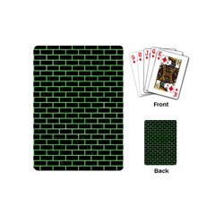 Brick1 Black Marble & Green Watercolor Playing Cards (mini)