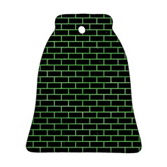 Brick1 Black Marble & Green Watercolor Bell Ornament (two Sides)