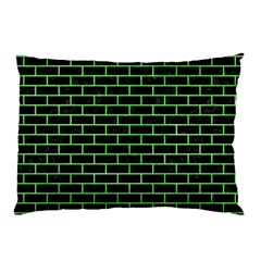 Brick1 Black Marble & Green Watercolor Pillow Case (two Sides)
