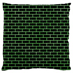 Brick1 Black Marble & Green Watercolor Standard Flano Cushion Case (one Side)