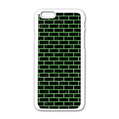 Brick1 Black Marble & Green Watercolor Apple Iphone 6/6s White Enamel Case