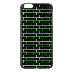Brick1 Black Marble & Green Watercolor Apple Iphone 6 Plus/6s Plus Black Enamel Case