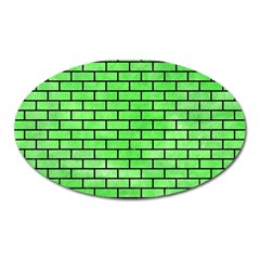 Brick1 Black Marble & Green Watercolor (r) Oval Magnet