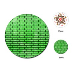 Brick1 Black Marble & Green Watercolor (r) Playing Cards (round)