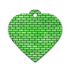 Brick1 Black Marble & Green Watercolor (r) Dog Tag Heart (one Side)