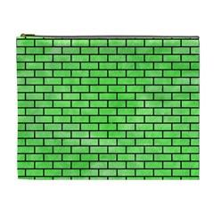 Brick1 Black Marble & Green Watercolor (r) Cosmetic Bag (xl)