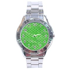 Brick1 Black Marble & Green Watercolor (r) Stainless Steel Analogue Watch