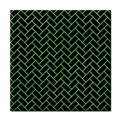 Brick2 Black Marble & Green Watercolor Tile Coasters