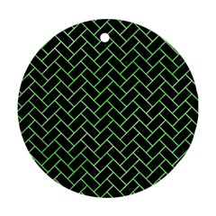 Brick2 Black Marble & Green Watercolor Ornament (round)