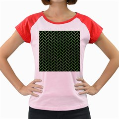 Brick2 Black Marble & Green Watercolor Women s Cap Sleeve T Shirt