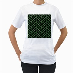 Brick2 Black Marble & Green Watercolor Women s T Shirt (white) (two Sided)