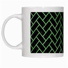 Brick2 Black Marble & Green Watercolor White Mugs