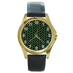 Brick2 Black Marble & Green Watercolor Round Gold Metal Watch