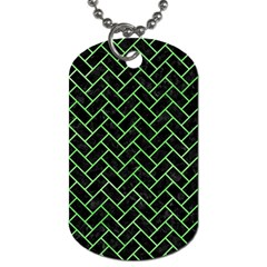 Brick2 Black Marble & Green Watercolor Dog Tag (one Side)