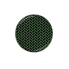 Brick2 Black Marble & Green Watercolor Hat Clip Ball Marker