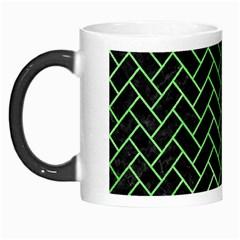 Brick2 Black Marble & Green Watercolor Morph Mugs