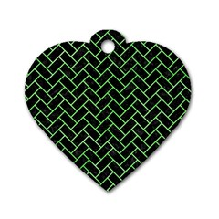 Brick2 Black Marble & Green Watercolor Dog Tag Heart (two Sides)