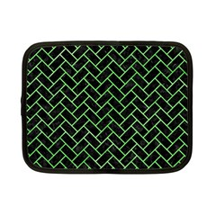 Brick2 Black Marble & Green Watercolor Netbook Case (small)