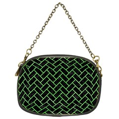 Brick2 Black Marble & Green Watercolor Chain Purses (one Side)
