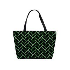 Brick2 Black Marble & Green Watercolor Shoulder Handbags