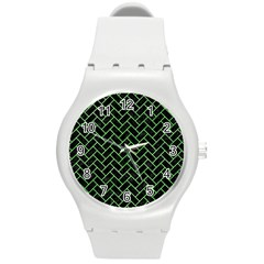 Brick2 Black Marble & Green Watercolor Round Plastic Sport Watch (m)