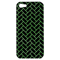 Brick2 Black Marble & Green Watercolor Apple Iphone 5 Hardshell Case