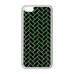 Brick2 Black Marble & Green Watercolor Apple Iphone 5c Seamless Case (white)