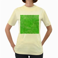 Brick2 Black Marble & Green Watercolor (r) Women s Yellow T Shirt